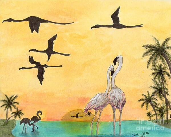 Flamingo Poster featuring the painting Flamingo Sunset Silhouette Cathy Peek Tropical Birds by Cathy Peek