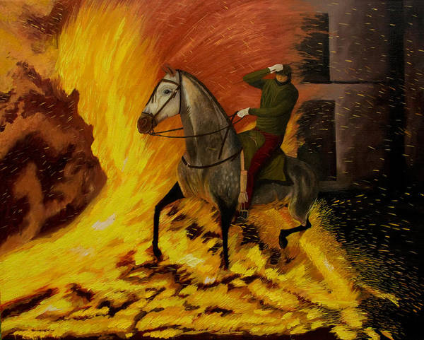 Horse Poster featuring the painting Horse On The Fire by Manuel Lopez