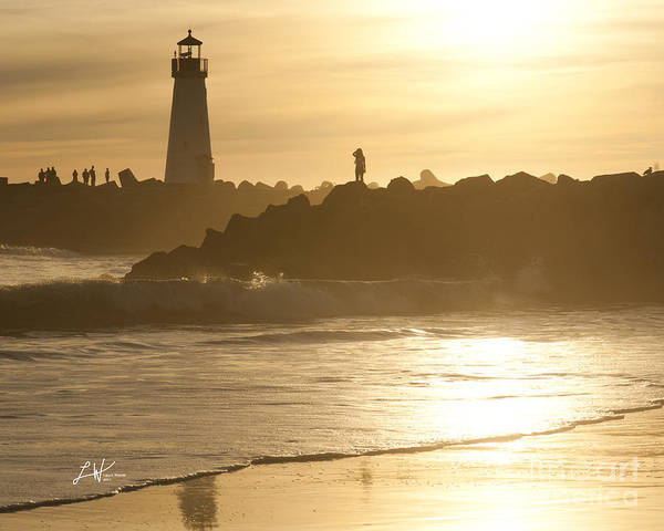 The Santa Cruz Harbor Lighthouse Poster featuring the photograph I Will Wait For You Forever by Artist and Photographer Laura Wrede