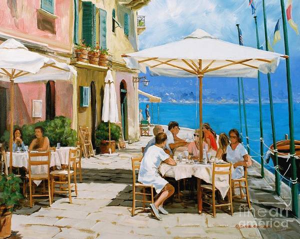 Portofino Poster featuring the painting Lunch In Portofino by Michael Swanson