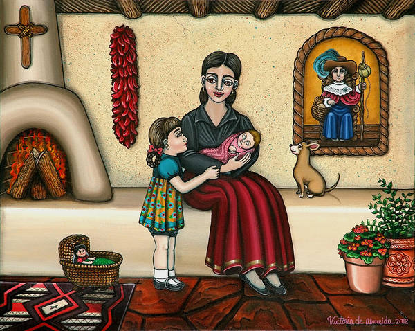 Moms Poster featuring the painting Momma Do You Love Me? by Victoria De Almeida