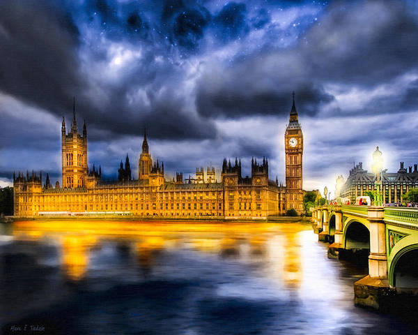 Big Ben Poster featuring the photograph Night Falls On British Parliament by Mark Tisdale