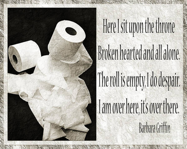 Bathroom Poster featuring the photograph Ode To The Spare Roll Bw 2 by Andee Design