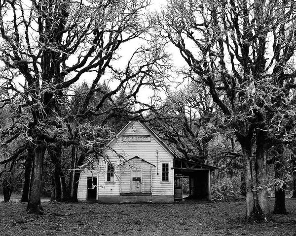 School House Poster featuring the photograph Old School House In The Woods by Thomas J Rhodes