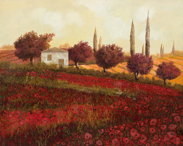 Tuscany Poster featuring the painting Papaveri In Toscana by Guido Borelli