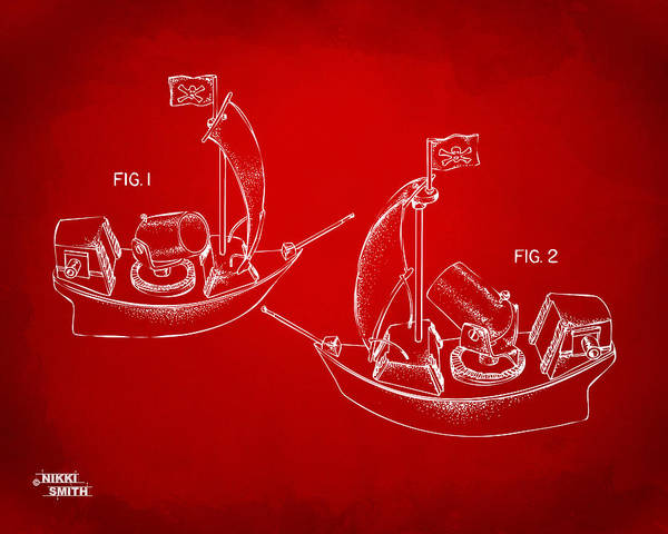 Pirate Poster featuring the drawing Pirate Ship Patent Artwork - Red by Nikki Marie Smith