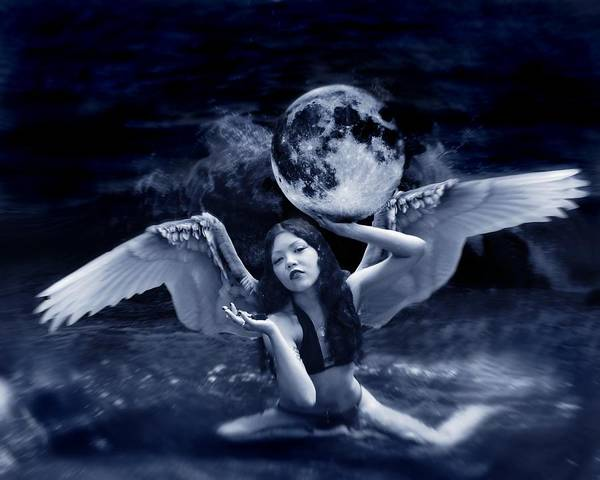 Angel Poster featuring the photograph playing with the Moon by Mayumi Yoshimaru