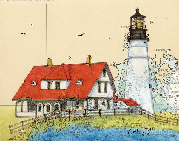 Portland Poster featuring the painting Portland Head Lighthouse Me Nautical Chart Map Art by Cathy Peek