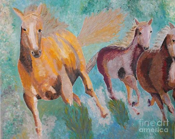 Horse Poster featuring the painting Running Horses by Vicky Tarcau