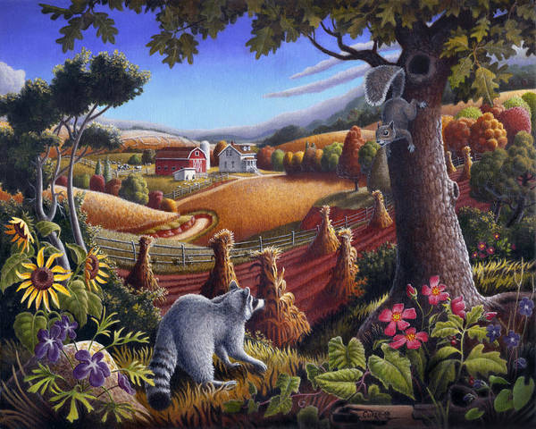 Rural Poster featuring the painting Rural Country Farm Life Landscape Folk Art Raccoon Squirrel Rustic Americana Scene by Walt Curlee