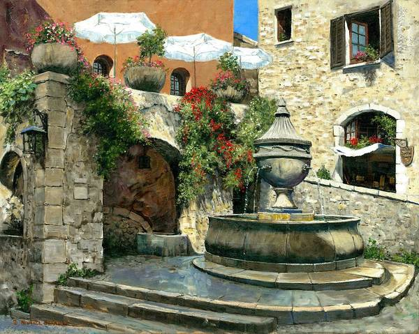 Vence Poster featuring the painting Saint Paul De Vence Fountain by Michael Swanson