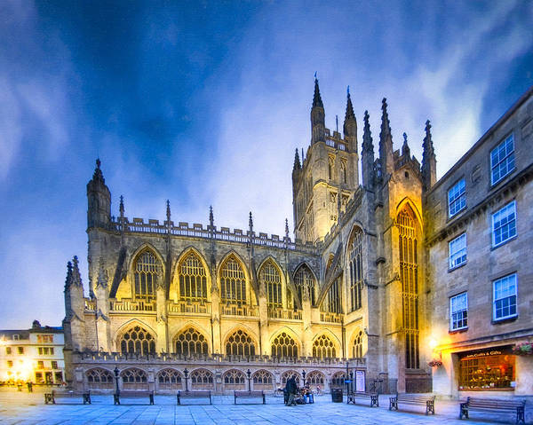 Bath Abbey Poster featuring the photograph Soaring Perpendicular Gothic Architecture Of Bath Abbey by Mark E Tisdale