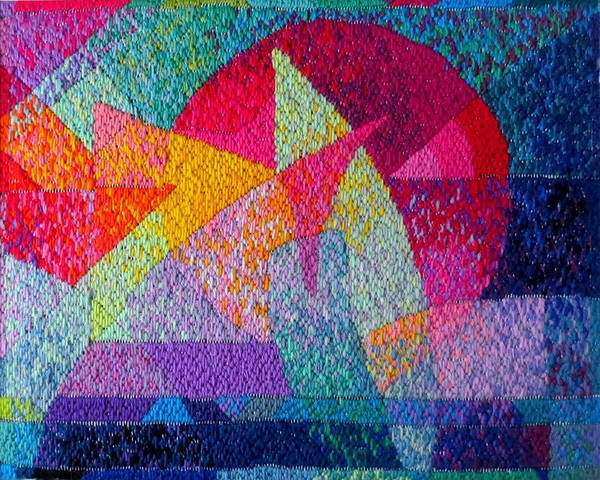 Abstract Expressionist Needlepoint Poster featuring the tapestry - textile Solar Tapestry by Diane Fine