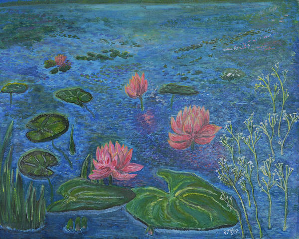 Nature Poster featuring the painting Water Lilies Lounge 2 by Felicia Tica
