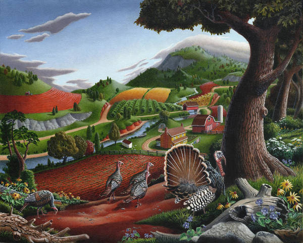 Wild Turkey Poster featuring the painting Wild Turkeys Appalachian Thanksgiving Landscape - Childhood Memories - Country Life - Americana by Walt Curlee