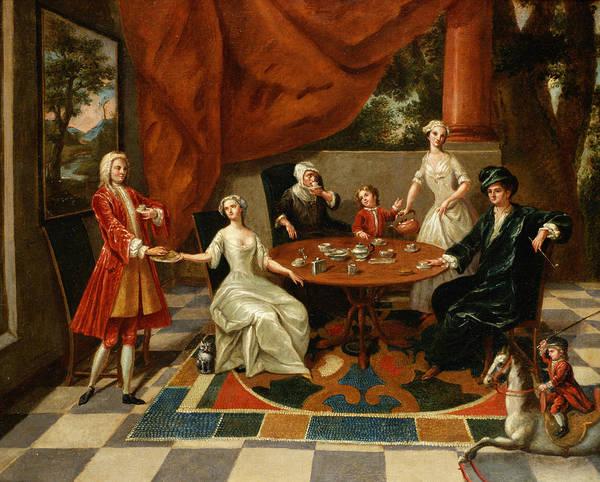 Elegant Poster featuring the painting An Elegant Family Taking Tea by Gavin Hamilton