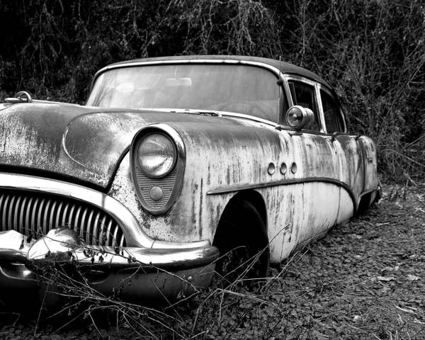 Buick Poster featuring the photograph Black And White Buick by Steve McKinzie