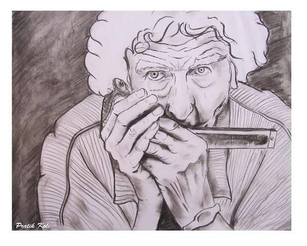 Staring Death Poster featuring the drawing Enjoying Life by Pratik Koli
