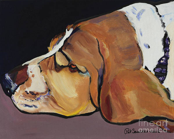 Animal Portrait Poster featuring the painting Farley by Pat Saunders-White
