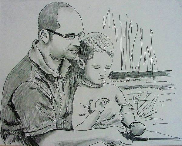 Father Poster featuring the drawing Father's Day by Lou Cicardo