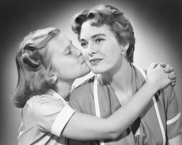 8-9 Years Poster featuring the photograph Girl (8-9) Kissing Mother, (b&w) by George Marks