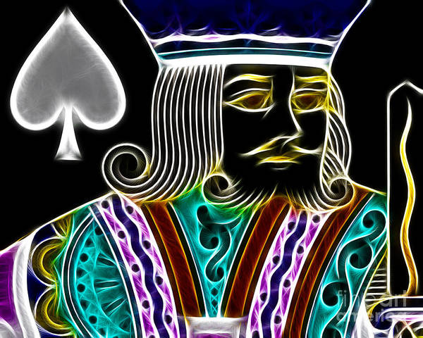 Card Poster featuring the photograph King Of Spades - V4 by Wingsdomain Art and Photography