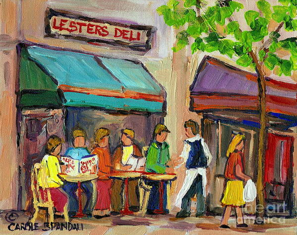 Montreal Poster featuring the painting Lester's Deli Montreal Cafe Summer Scene by Carole Spandau