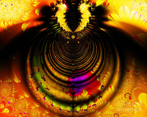 Fractal Poster featuring the digital art Melting Pot . Gold . Horizontal Cut . S8a.s11 by Wingsdomain Art and Photography