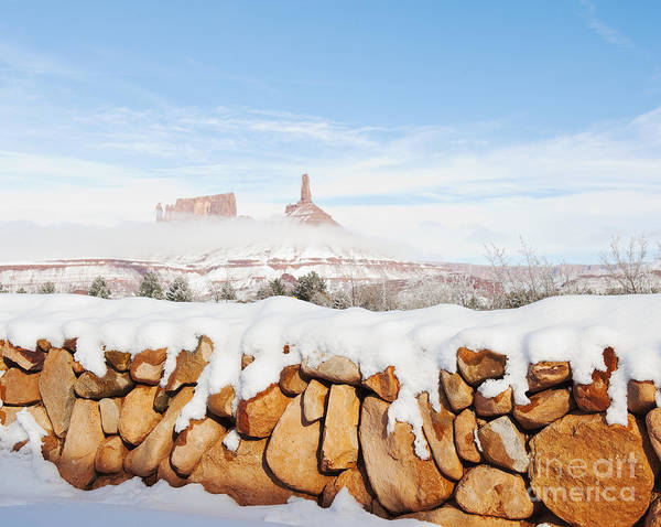 Bleak Poster featuring the photograph Snow Covered Rock Wall by Thom Gourley/Flatbread Images, LLC