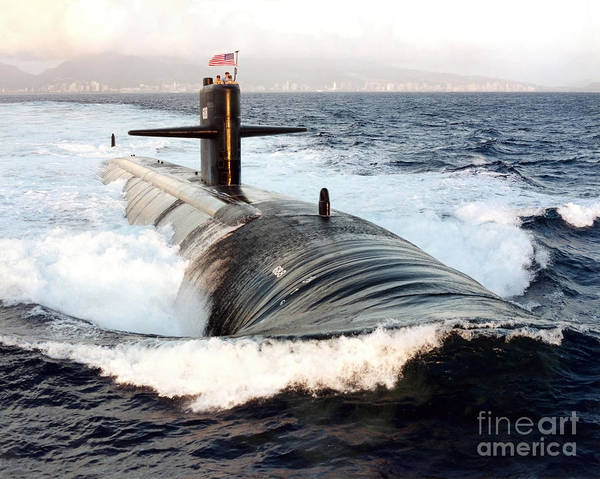 Horizontal Poster featuring the photograph Starboard Bow View Of Attack Submarine by Stocktrek Images