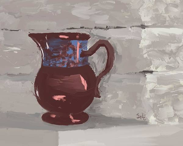 Still Life Poster featuring the digital art Still Life With Copper Luster Jug by Sarah Countiss