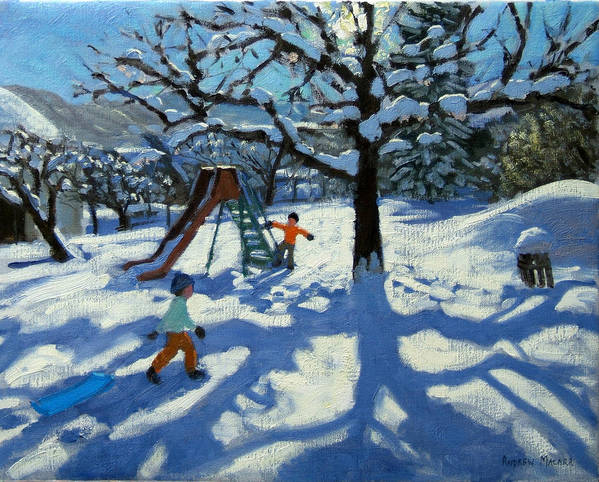 Swiss Landscape Poster featuring the painting The Slide In Winter by Andrew Macara