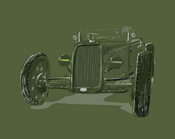 Hot Rod Poster featuring the drawing Ww2 Rod by Jeremy Lacy