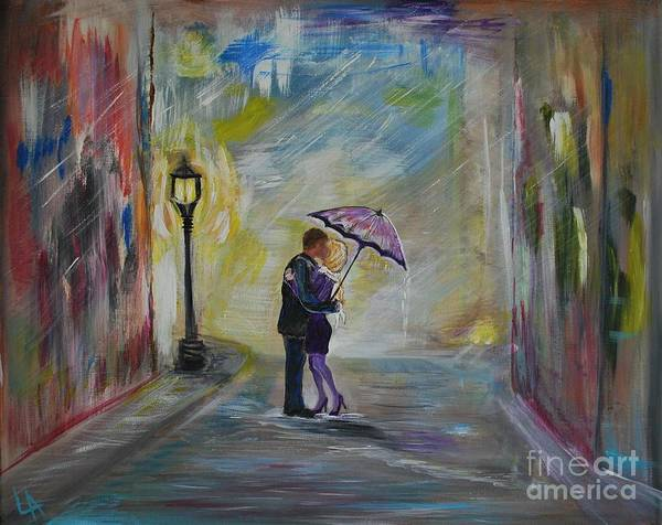 Couple Painting Poster featuring the painting Kiss Me Taxi Is Here by Leslie Allen