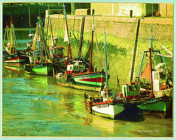 France Poster featuring the painting Boats At Honfluer France by Fred Jinkins