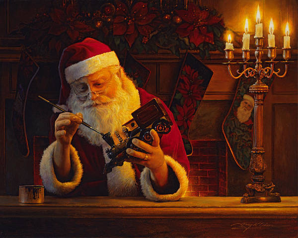 Christmas Poster featuring the painting Christmas Eve Touch Up by Greg Olsen