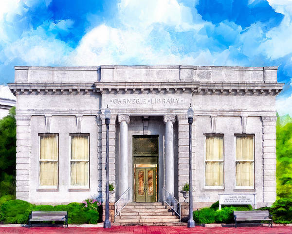 Georgia Poster featuring the mixed media Classic Carnegie Library - Montezuma Georgia by Mark Tisdale