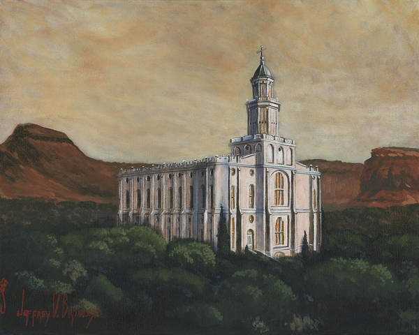 Lds Poster featuring the painting Desert Oasis by Jeff Brimley