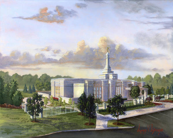 Detroit Michigan Temple Poster featuring the painting Detroit Michigan Temple by Jeff Brimley