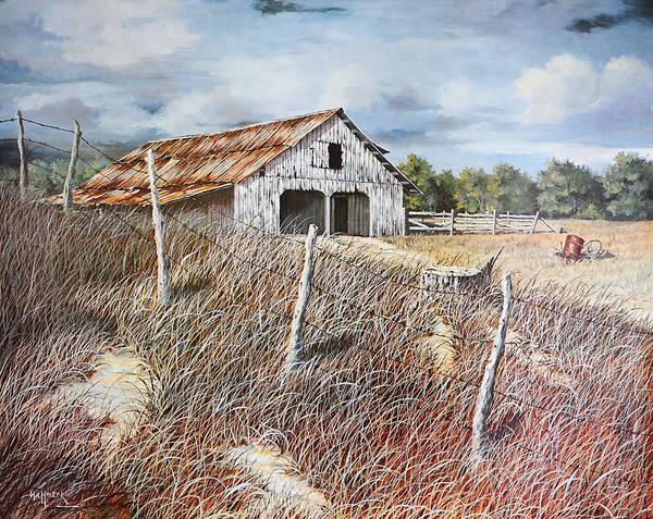 Bob Hallmark Poster featuring the painting East Texas Barn by Bob Hallmark