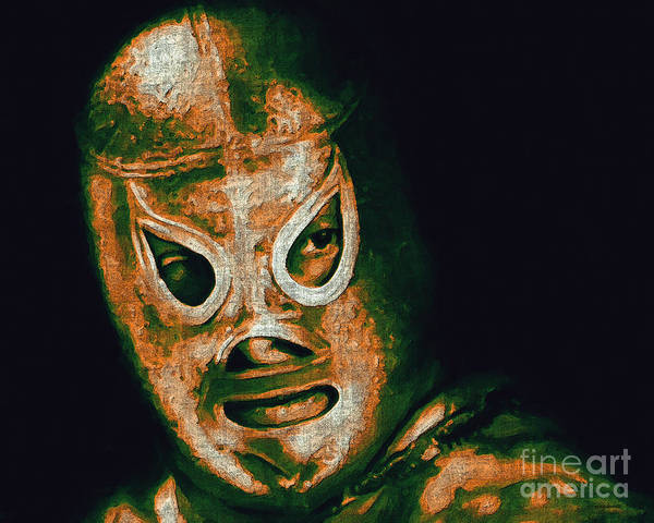 El Santo Poster featuring the photograph El Santo The Masked Wrestler 20130218 by Wingsdomain Art and Photography