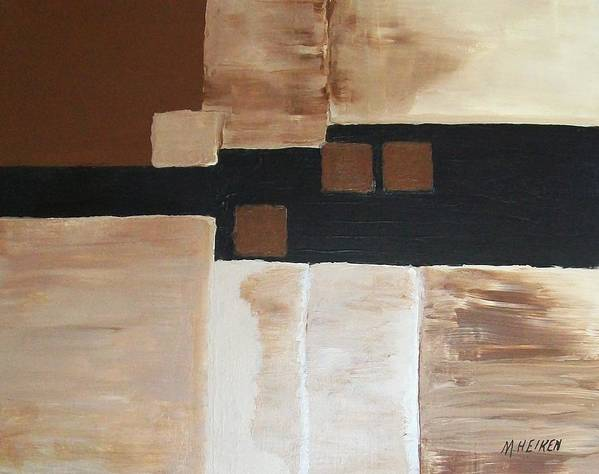 Abstract Browns Poster featuring the painting Four Square by Marsha Heiken