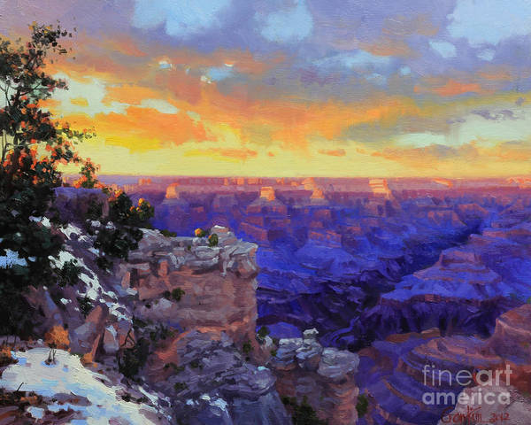Grand Canyon Poster featuring the painting Grand Canyon Winter Sunset by Gary Kim