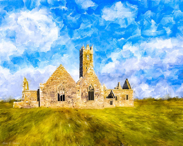 Galway Poster featuring the mixed media Irish Monastic Ruins Of Ross Errilly Friary by Mark E Tisdale