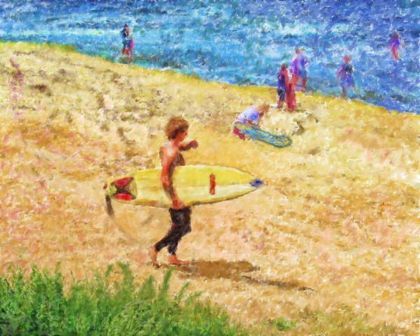 Surfers Poster featuring the mixed media La Jolla Surfers by Marilyn Sholin