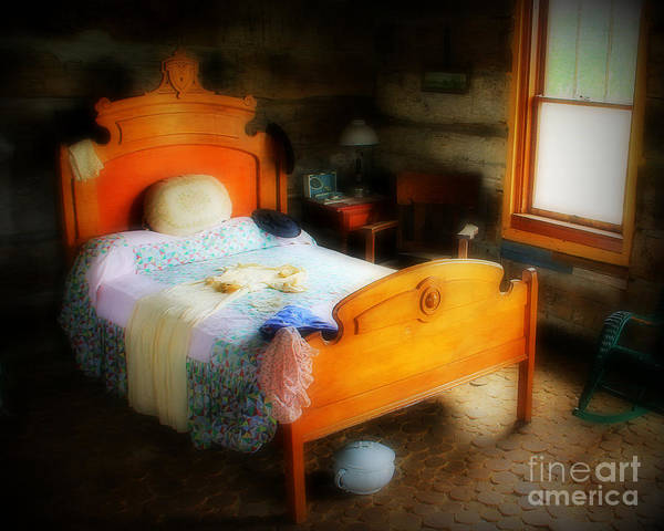 Bed Poster featuring the photograph Log Cabin Bedroom by Perry Webster