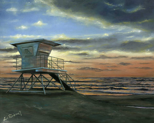 Beach Poster featuring the painting Moonlight Sunset by Lisa Reinhardt