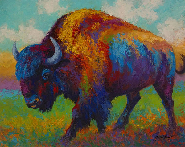 Bison Poster featuring the painting Prairie Muse - Bison by Marion Rose