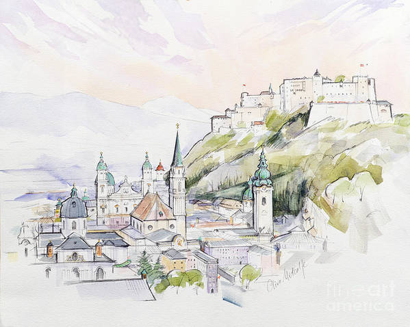 City; Cityscape; Fortress; Mozart Poster featuring the painting Salzburg Sunrise by Clive Metcalfe