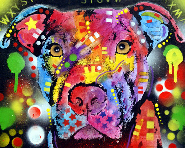 Pitbull Poster featuring the painting The Brooklyn Pitbull 1 by Dean Russo